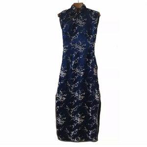 XS Vintage Oriental Maxi dress blue silver
